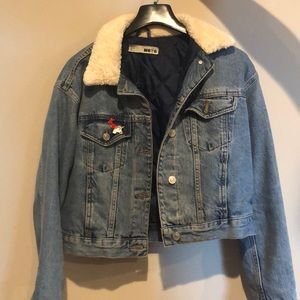 Topshop Denim Jacket with shearling